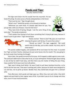 This Reading Comprehension Worksheet - Panda and Tiger is for teaching reading comprehension. Use this reading comprehension story to teach reading comprehension. Reading Comprehension Activities, Reading Worksheets, Reading Passages, Teaching Reading, Speech Activities, Grammar Worksheets, Reading Groups, Free Reading, English Stories For Kids