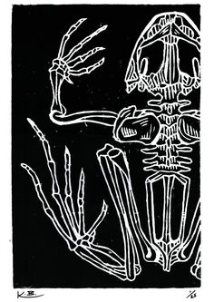 Frog Woodcut Print 420mm x 297mm Signed by DustlessSoulCreation