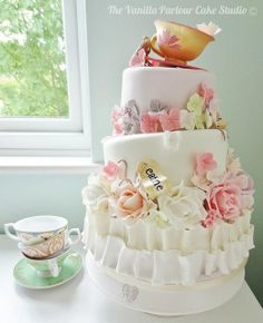 Garden Theme Tea Party Cake by The Vanilla Parlour Cake Studio, via Flickr