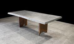 CAST ALUMINUM DINING TABLE (SANDCAST FROM AN OAK SLAB) WITH BLACK WALNUT SLAB CURTAIN LEGS