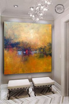 Orange Painting, Oil Painting Abstract, Acrylic Painting Canvas, Canvas Art, Painting Tips, Extra Large Wall Art, Large Art, Colorful Paintings, Landscape Paintings