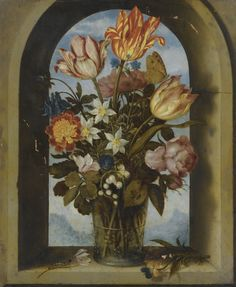 Ambrosius Bosschaert the Elder  STILL LIFE OF TULIPS, MOSS-ROSES, LILY-OF-THE-VALLEY AND OTHER FLOWERS IN A GLASS BEAKER SET IN AN ARCHED STONE WINDOW OPENING, WITH A DISTANT LANDSCAPE BEYOND