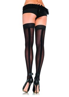 Tuxedo opaque #backseam thigh highs with #satin bow accent.