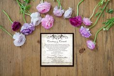 The vintage look of our Antique Gold wedding invitation brings back a by-gone era. The invitation features a metallic brown bi-fold.