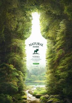 Natural Mark – vodka on mineral water on Inspirationde Image added in Advertising Collection in Graphic Design Category Clever Advertising, Print Advertising, Print Ads, Advertisement Examples, Product Advertising, Advertising Campaign, Ads Creative, Creative Posters, Creative Design