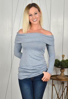 Light Blue Off The Shoulder Top | Lane 201 Boutique