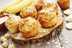 Recette : Muffins aux bananes, raisins et son d'avoine. Biscuits, Baked Potato, Brunch, Goodies, Baking, Breakfast, Ethnic Recipes, Sweet, Desserts
