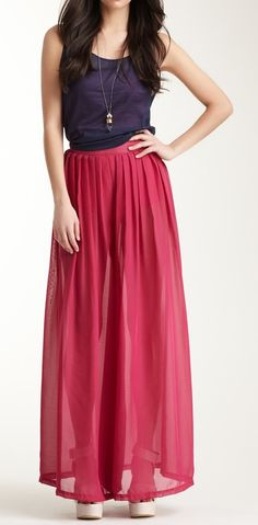 Chiffon wide leg pants, looks like a skirt, but with the freedom of pants