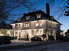 Lovely landscape lighting using CAST Lighting fixtures to showcase this gorgeous white colonial in freshly fallen snow. We love simple uplighting and shadowing! Pin this landscape lighting design idea! Landscape Lighting Design, Home Lighting Design, Facade Lighting, Exterior Lighting, Outdoor Lighting, Lighting Ideas, House Lighting, Outdoor Decor, Diy Zimmer