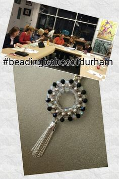 Beading Babe's of Durham, 4mm  round czech druk beads, 4mm bicones, tassel and 11/0 seedbeads, Pendant