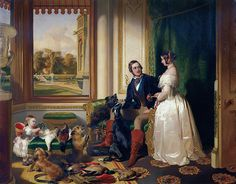 Victoria and Albert at Windsor with the Princess Royal and four of their dogs
