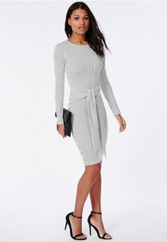 Tie Waist Long Sleeve Midi Dress White/Black Stripe - Missguided $57