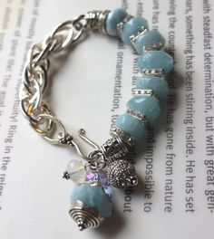 ON SALE chunky charm bracelet aquamarine bracelet by soulfuledges