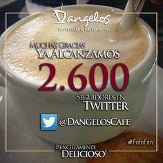 Gracias a nuestros #Fans por apoyarnos y seguirnos en Twitter https://twitter.com/DangelosCafe