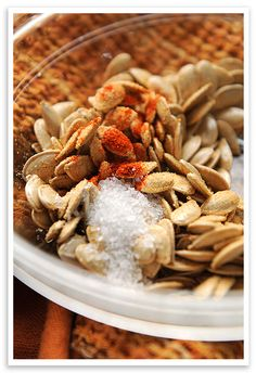 Good snack idea. Toasted Pumpkin Seeds. Nice addition to Game Day or other casual get-togethers or picnic.