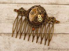 Steampunk Haarkamm mit echten Uhrenteilen braun von Schmucktruhe
