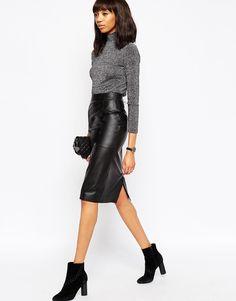 Www.morwennauk.net Image 1 ofASOS Midi Pencil Skirt in Leather