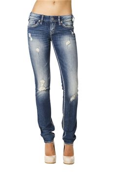 Jean Machine's Ripped denim paired with a nude heel -  #jeans
