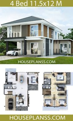 House Plans Idea with 4 bedrooms - House Plans Sam Architect Design House, House Roof Design, Two Story House Design, 2 Storey House Design, Home Building Design, Bungalow House Design, Small House Design, Facade House, Home Design Plans
