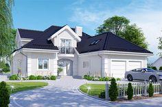Projekt domu z poddaszem APS 255 trzypokoleniowy o pow. 228,2 m2 z obszernym garażem, z dachem kopertowym, z tarasem, sprawdź! One Storey House, Bungalow House Design, Exterior Paint, Home Fashion, Home Projects, Architecture Design, Backyard, Mansions, House Styles