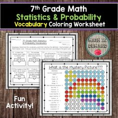 Students will be given 16 vocabulary words and definitions on 7th grade math statistics & probability. They will need to match the vocabulary words with the definitions. Students will complete the vocabulary then color the mystery picture according to the given color. Answer key is included. Vo... Geometry Vocabulary, Vocabulary Worksheets, Vocabulary Words, 9th Grade Math, Adding And Subtracting Integers, Math Coloring Worksheets, Sorting Activities, Definitions, Mystery