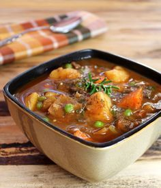 Beefless Stew: This hearty stew has everything you love about beef stew, but without the beef! It has large chunks of potato, carrot, celery, and onion, and portabella mushrooms stand in for the beef. Garlic, paprika, and fresh rosemary provide excellent flavor.