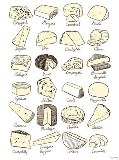 "Lucy Knisley, ""Cheeses is Love"" print. http://society6.com/Lucy/Cheese-Poster_Print"