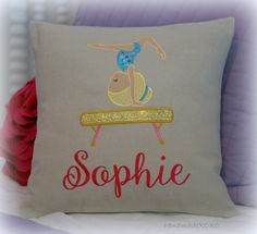 Personalized Gymnastics Girls Pillow Cover-Bedroom Decor- Gymnast- Embroidered Name Pillow-16x16 Pillow Cover-Pillow for Young Girls- by handmadeXOXO on Etsy