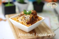 Succulent meatballs baked on our special sauteed rice- another favorite from Baby Toddy.