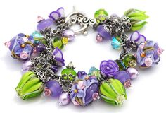 Reserved for N  Lime Lavender Lampwork Charm by shalayneoriginals