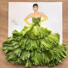 Romaine Lettuce Leaves Dress fashion art sketch by Edgar Artis. Fashion Design Drawings, Fashion Sketches, Arte Fashion, Paper Fashion, 3d Fashion, Deco Floral, Instagram Artist, Creative Artwork, Flower Fashion