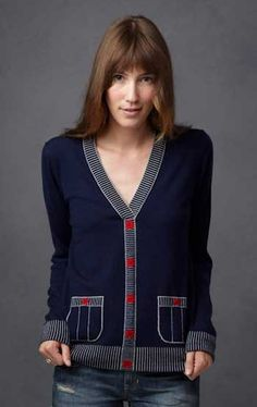 I love Cardigans! Esp color combo like dark blue, white and a bit of red.