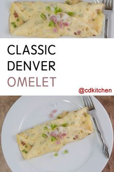 Also known as a Western omelet, this breakfast dish is made from eggs, ham, bell pepper, and onion. This version has the filling cooked right into the egg instead of the more traditional style.| CDKitchen.com