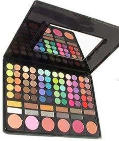 Ml Collection 78 Color Makeup Palette. 60 Eye shadows,12 highlighting and liner shades,6 blushers, mirror with 2 foam tip applicators. Very pigmented and vibrant, matte and shimmer eye shadows. This palette is suited for everyone!. A favorite for the professional, wedding makeup, party makeup and more. Palette Dimension: 9''x6,5''.