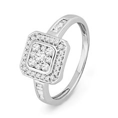 10KT White Gold Baguette and Round Diamond Sqaure Fashion Ring (1/3 cttw)