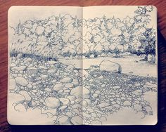 landscape, sketchbook drawing by Jared Muralt