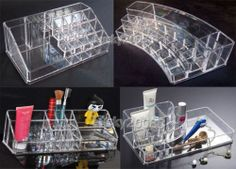 Clear Acrylic Cosmetic Organizer Makeup Case Lipstick/Brush Holder Birthday Gift