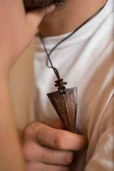 Indian Arrow pendant from Coconut Shell by ArtNutJewelry on Etsy
