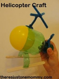 DIY Helicopter Craft for kids using a soda bottle, popsicle sticks and a plastic ball! Cool for boys! (Cool Crafts With Popsicle Sticks) Easy Crafts For Kids, Craft Activities For Kids, Projects For Kids, Diy For Kids, Crafts To Make, Therapy Activities, Summer Activities, Craft Ideas, Helicopter Craft