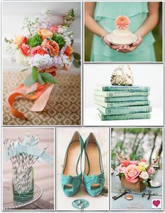 Teal Peach & Pink Eclectic Wedding Inspiration Board