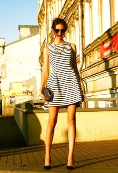 Striped sleeveless dress.