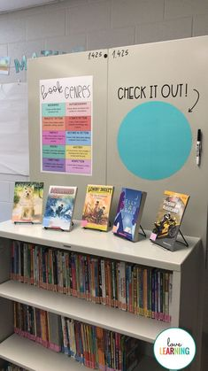 love having my students read different book genres, so I organized my classroom library by genre and also created a book genre poster to display. I am hoping this will encourage my students to read a wide variety of books! Classroom Library Labels, 5th Grade Classroom, Middle School Classroom, Classroom Libraries, English Classroom Decor, Future Classroom, English Teacher Classroom, Classroom Ideas, School Libraries