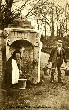 Notice the frame for carrying water without banging the buckets into your legs.*  Postcard - The Village Well, Longformarcus, Scotland