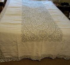 SOLD  Vintage Table Cloth  Cut Work Tablecloth  by JewelsOfHighElegance, $120.00