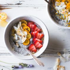Chia Pudding Breakfast Bowls with Kumquats, Berries & Lavender Honey {gluten-free, dairy-free}
