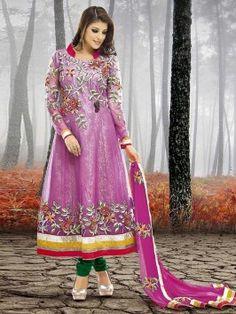 Purple Net Anarkali Suit With Embroidery And Kundan Work www.saree.com