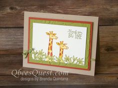 Animal Outing Card (CT #148) | Stampin' Up, CASE-ing Tuesday, Layered Leaves Embossing Folder, Stampin Blends, Animal Outing Stamp Set, Qbee's Quest, Brenda Quintana