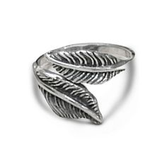 Adjustable Feather Ring in Oxidised Sterling Silver