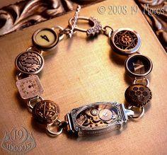 DEJA VU Antique Button Watch Typewriter Key Steampunk ...