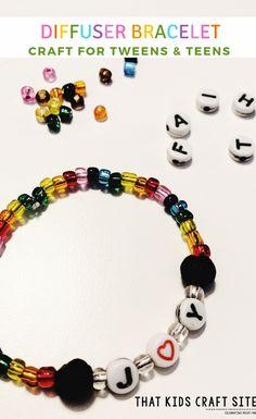 Diffuser Bracelet Craft for Tweens and Teens - Make Your Own Lava Stone Diffuser Bracelet for Essential Oils - ThatKidsCraftSite.com #essentialoils #diffuser #eos #eo #essentialoil #bracelet #tweencrafts #teencrafts